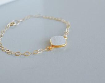 Gold Bracelet, Druzy Bracelet, Gemstone Bracelet, White Shimmer, Bridal Bracelet, Wedding, Winter Jewelry, Christmas Gift, Bridesmaid,