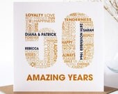 Personalised Golden Wedding Anniversary Card - Personalised 50th Anniversary Card - Celebratory 50 Year Card
