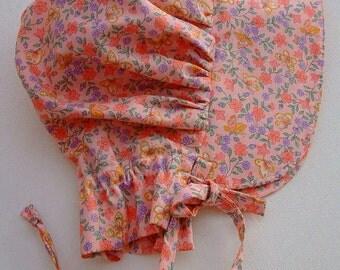 Baby Bonnet, Pink Calico Sun Bonnet,  Pioneer Bonnet ,Baby Girl Bonnet, Toddler Bonnet -  Ready to Ship