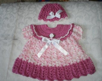 Candy Pink Dress and Hat Set for 12 to 18 Months