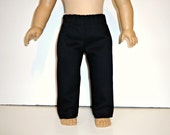 Black Pants 18 inch boy doll or girl fitting brushed twill dress pants