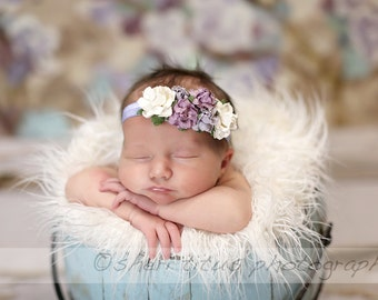 Lavender Lilac Ivory Flower Crown Headband - Baby Flower Crown - Flower Girl Floral Headpiece - Newborn Flower Crown - Floral Headband