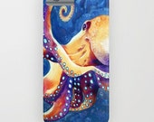 Octopus iPhone 7 Case - Ocean Watercolor Painting - Designer iPhone or Samsung Case