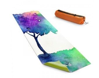Yoga Mat Hue Tree Rainbow Watercolor Painting - Exercise Mat