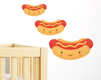Happy Hot Dogs Wall Sticker, Nursery Wall Decal, living room wall decal, foodie gift, Removable & Repositionable