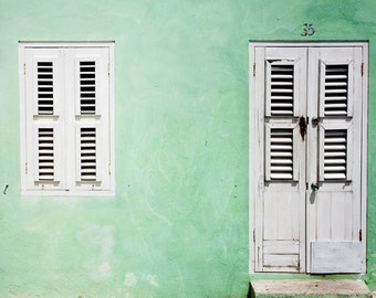 Mint Green House, fine art photography, architecture print, tropical wall art, Caribbean, large wall art