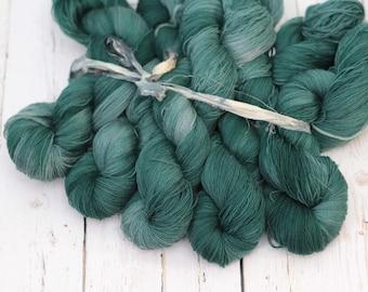 "hand dyed yarn, handdyed yarn, lace yarn, Lambswool Cashmere  yarn, 656 yards, ""Spruce"""