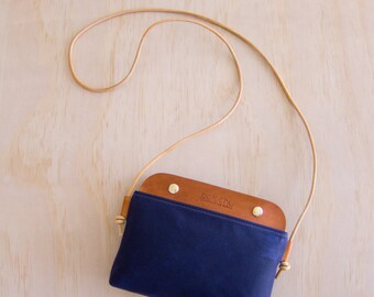 Mallorca Crossbody Bag -  Navy Blue Wax