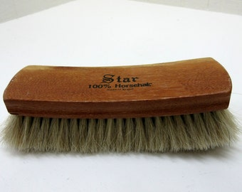 """Vintage Star Shoe Brush Boot Brush Shine Brush 100% Horsehair Made In Brazil 8"""" Star Brush"""