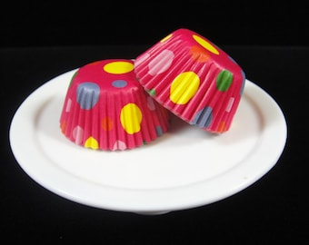 Bright Dots Mini Cupcake Liners, Mini Baking Cups, Mini Muffin Papers, Mini Candy Paper, Cake Pop Papers, Truffle Cases  - QTY. 25