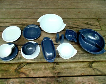 Boontonware Melamine Dishes Gray / White Melmac 1950s vintage 15 pc Mid Century Boonton