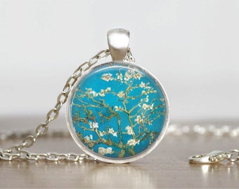 van Gogh Almond Blossom Glass Tile Pendant Necklace Famous Dutch Artist Jewelry