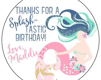 mermaid birthday stickers, personalized mermaid party labels, pink blue gold mermaid label, girl summer birthday stickers, 3 sizes available