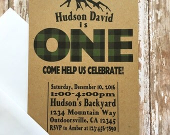 12 lumberjack first birthday invitations, green buffalo plaid birthday invite, custom christmas kraft paper invitation, plaid outdoor invite