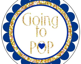 baby shower going to pop stickers, navy and gold glitter going to pop baby shower stickers, going to pop labels, glitter stickers, 3 sizes