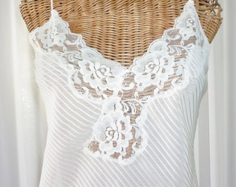 Indulgence Nightgown Sheer Vintage Cream Pearl Studded Bust Lace Hemline