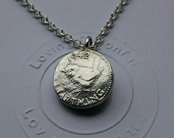 LIMITED - Every cloud has a silver lining Farthing Silver Coin Necklace Pendant