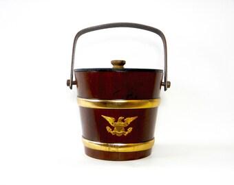 Vintage 1960s Early American Vermont Wooden Ice Bucket/Vermont Firkin