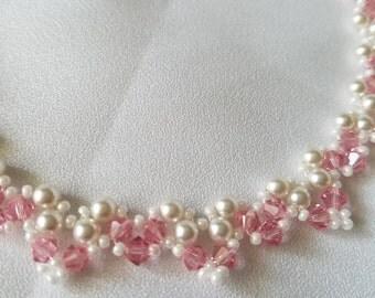 Swarvoski beaded cream and pink necklace