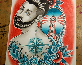 ORIGINAL 8x10 in. Watercolor Painting - Traditional Tattoo Nautical Flash Painting - Down With the Ship II
