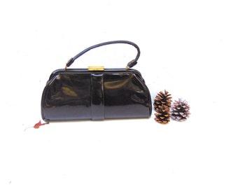 Mid Century Black Vinyl Handbag, 1950s Black Vinyl Handbag
