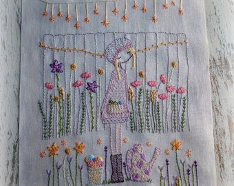 flower gardener hand embroidery pattern PDF