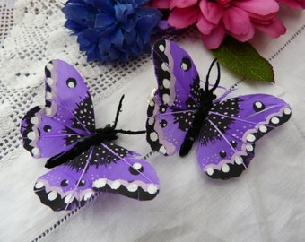 Purple feather butterfly hairclips