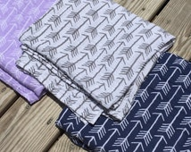"Arrows- Muslin Premium Swaddle Blanket- large 47""x47""- muslin- light-weight swaddle- baby blanket- double gauze- gray- navy- lilac"