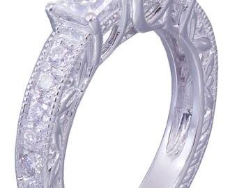 14k White Gold Princess Cut Diamond Engagement Ring Antique 1.60ct H-VS2 EGL USA