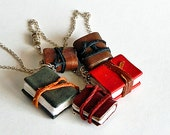 Set of 5, tiny leather journals or books, handmade, miniature, jewelry art, necklace, accessory, JunqueTreasures