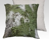 Birch Bark Pattern 18x18 Velveteen Pillow Cover Green and White Wood Pattern OOAK Home Décor Accent Bring the Outdoors In