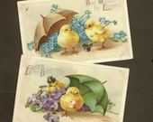 RESERVED LISTING (NJ) Pair Embossed Vintage Easter Postcards Playful Chicks With Spring Flowers Umbrellas 1910 Violets and Forget-me-Nots