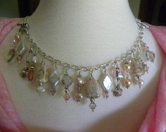 Pink Pearl Bracelet Pink Lamp Work Murano Glass Pearls Swarovski Sterling Silver Bib Necklace Charm Bracelet Converts to Pink Necklace