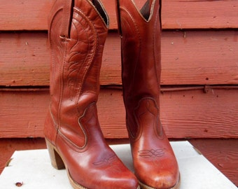 70s/80s Oxblood Dexter Cowgirl Boho Riding Campus Stacked Heel Boots Ladies 6