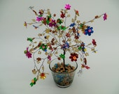 wire tree sculpture ,beaded tre, bonsai tree, tree of life , feng shui tree ,colorful  flowers