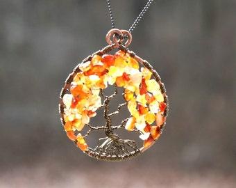 Tree of life Suncatcher,Tree DreamCatcher, Carnelian Dream catcher, Home Decor, Large Sun catcher, meditation and yoga decor, sunshine tree