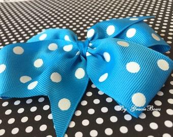 Island Blue and White Dots Large Pinwheel Bow