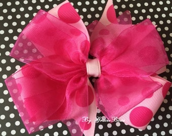 Light Pink and Hot Pink Polka Dot Large Double Pinwheel Bow