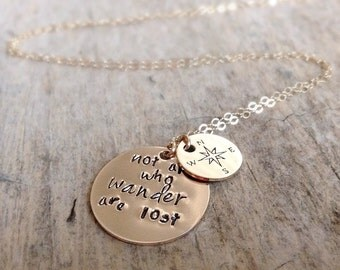 Compass Necklace, Disc Charm Necklace, 14K Yellow Gold Fill Necklace, Gift For Mom, Modern Bohemian, Boho Luxe, Mother's Day