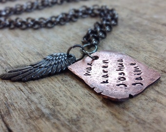 Men's Copper Necklace, Rustic Necklace, Hand Stamped Necklace, Gift For Him, Family Name Necklace, Personalized Gift, Bohemian Jewelry