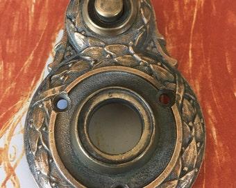 Vintage Ornate Cast Bronze Sargent Door Escutcheon Push Button - Historical Finding - Deco Pd.