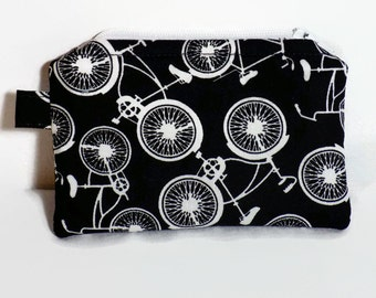 Zipper coin purse coin pouch fabric coin purse black and white bike bicycle coin wallet card holder change purse zipper pouch small purse