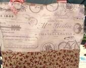 French Inspired Tote / Bag , Bicycle Bag, Market Bag, Shoulder Bag