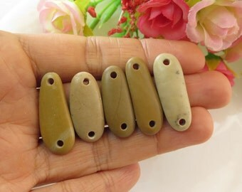 Double Drilled Beach Stone Big Connectors-Jewelry Supplies, Organic Long Beads Buttons- Jewelry supplies