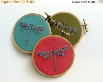 "Christmas in July Sale Hand embroidered dragonfly. 3"" hoop. bridesmaids' gift. home decor. nursery decor. party favor, hostess gift.  hand e"