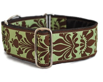 Martingale Collar: Chocolate & Green Damask Jacquard - 2 Inch