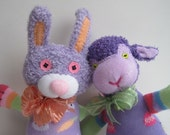 Lil' LILAC and COUSIN VIOLET are Spring offerings in shades of purple. A Bunny and a Lamb, these sock toys are Easter Basket ready.