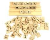 87 Scrabble Tiles, 4 Racks, Scrapbooking, Scrapbooks, Crafts Supply, Jewelry Making, DIY, Wooden Game Pieces