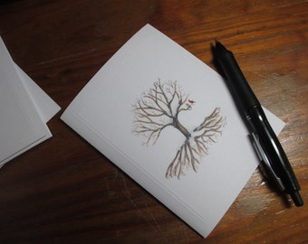 Set of 2 Deeply Rooted Winter Tree Watercolor Notecard