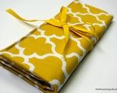 BOGO sale on now! Mustard Yellow Gold Organizer Roll for Circular Knitting Needles // 8 Pockets